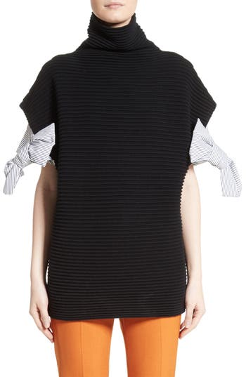 Victoria, Victoria Beckham Bow Sleeve Funnel Neck Sweater