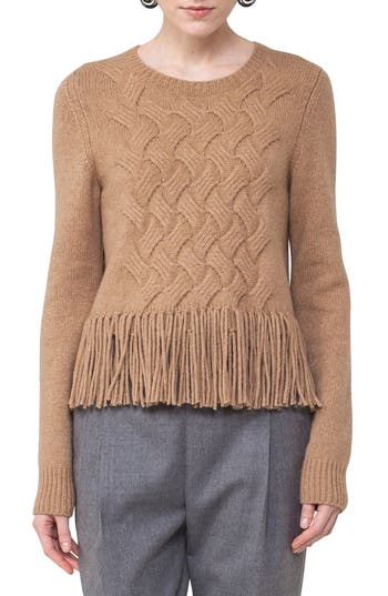 Akris punto Fringe Cable Knit Wool Blend Pullover