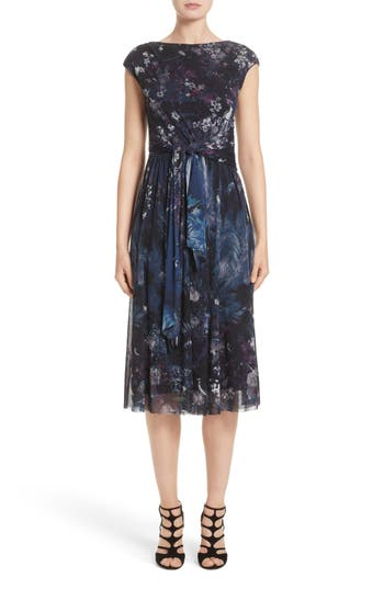Fuzzi Floral Print Tulle Belted Dress