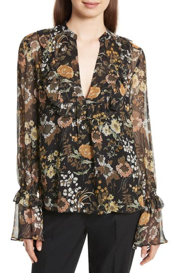 Robert Rodriguez Ruffle Silk Peasant Top