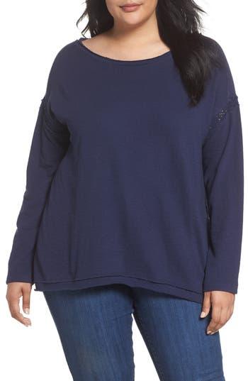 Caslon Lace Trim Sweatshirt (Plus Size)
