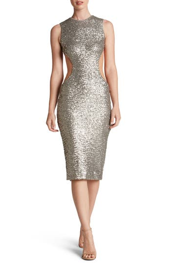 Dress the Population Ryan Side Cutout Sequin Midi Dress