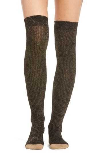 kate spade new york sparkle ribbed over the knee socks