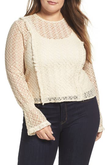 ELVI Fringe Trim Lace Top (Plus Size)