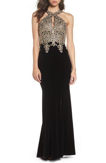 Xscape Crystal Embroidered Velvet Gown (Regular & Petite)