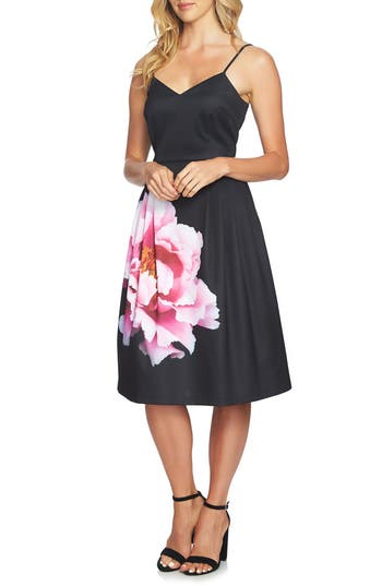 CeCe Leah Pleated A-Line Dress