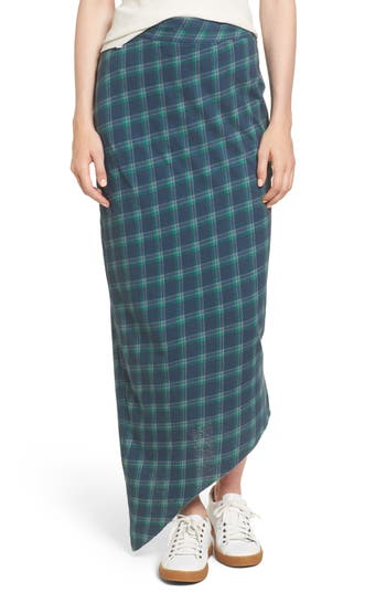 Frank & Eileen Tee Lab Asymmetrical Plaid Maxi Skirt