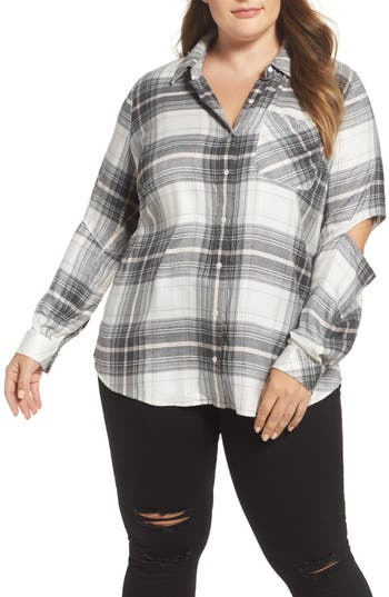 Two by Vince Camuto Cold Elbow Linearscape Plaid Shirt (Plus Size)