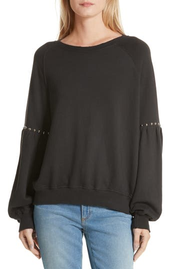 THE GREAT. The Bishop Sleeve Studded Sweatshirt