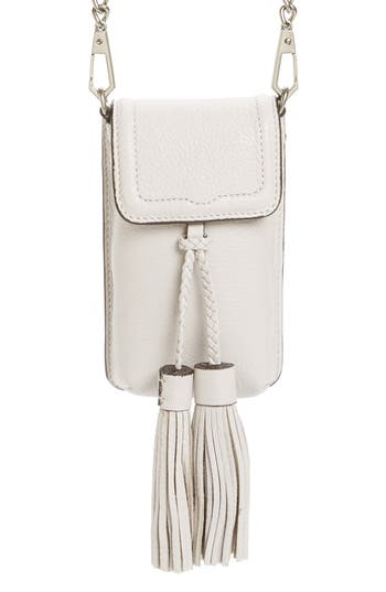 Rebecca Minkoff Isobel Phone Crossbody Bag with Genuine Rabbit Fur Guitar Strap