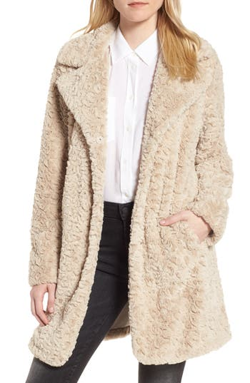 Kenneth Cole New York Faux Fur Coat (Regular & Petite)