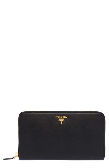Prada Oro Saffiano Leather Zip Around Wallet