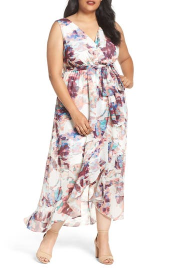 Sangria Muted Floral Faux Wrap Maxi Dress (Plus Size)