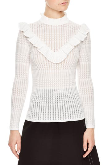 sandro Ruffle Neck Sweater