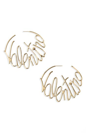 Logo Script Hoop Earrings by Valentino