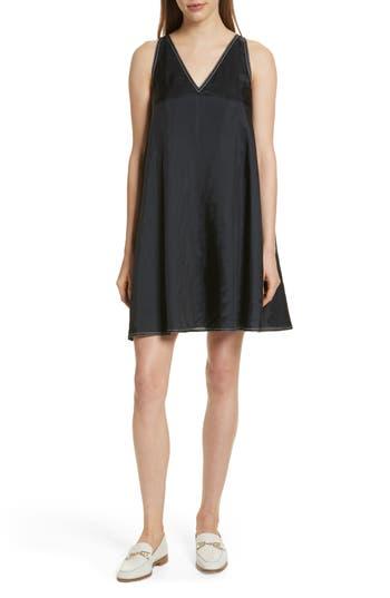 Harvey Faircloth Contrast Stitch Satin Swing Dress