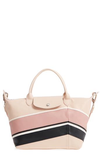 Small Le Pliage Cuir   Chevron Leather Top Handle Tote by Longchamp