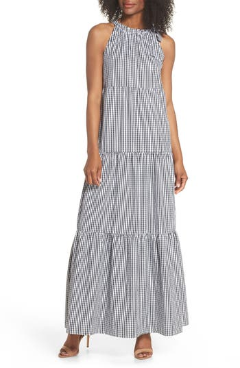 Gingham Check Maxi Dress by Maggy London