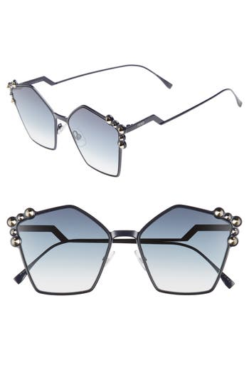 57mm Stud Geo Metal Sunglasses by Fendi