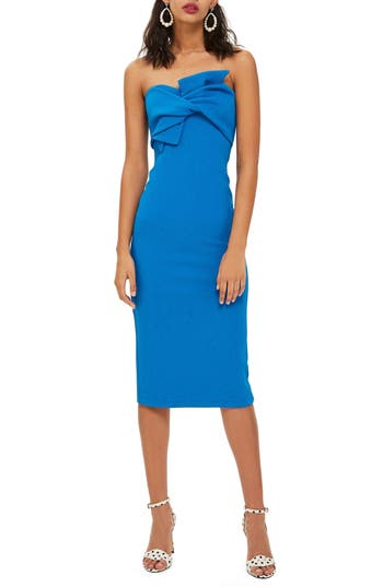 Bow Twist Textured Midi Dress by Topshop