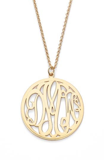 argento vivo personalized 3 letter monogram necklace