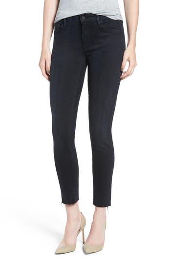MOTHER Frayed Ankle Skinny Jeans (Black Bird)