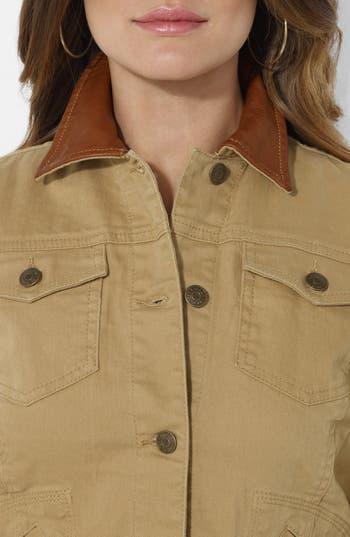 Alternate Image 3  - Lauren Ralph Lauren Leather Collar Jean Jacket (Petite)
