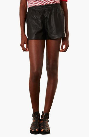 Main Image - Topshop Perforated Faux Leather Shorts