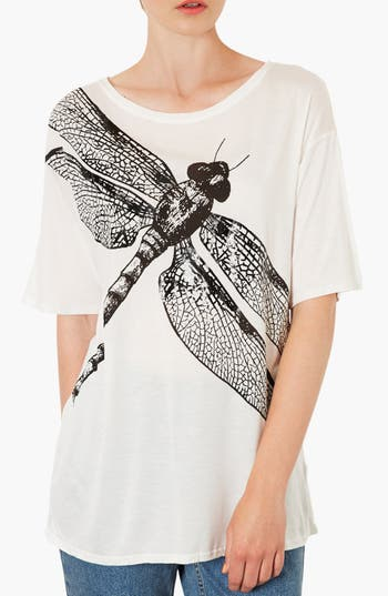 Alternate Image 1 Selected - Topshop Oversized Dragonfly Print Tee