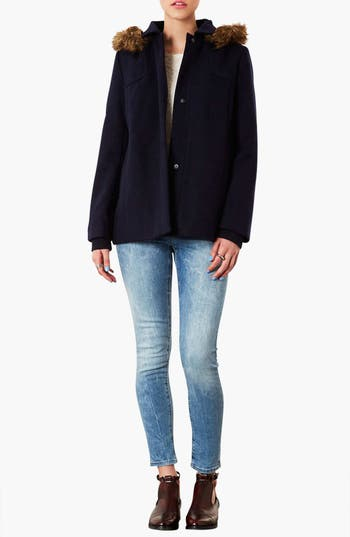 Alternate Image 4  - Topshop 'Edie' Faux Fur Trim Coat