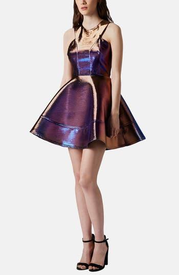 Metallic Skater Dress by Topshop