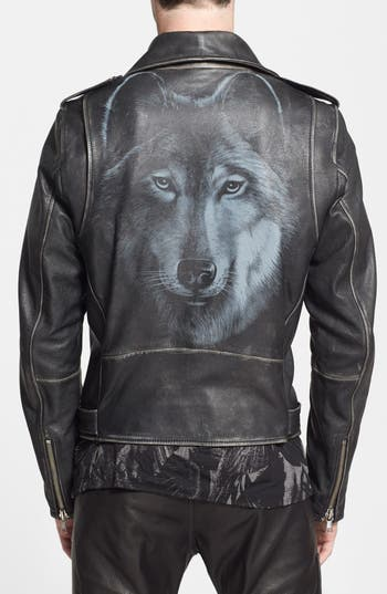 Diesel 174 L Seddick Leather Moto Jacket With Wolf Graphic