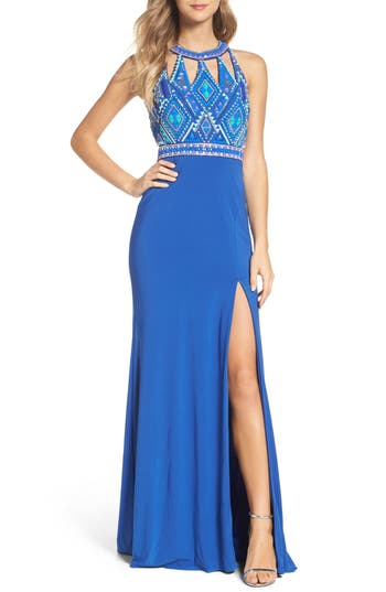 Mac Duggal Embellished Jersey Gown