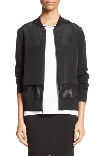 St. John Collection Stretch Silk Crêpe de Chine & Mesh Bomber Jacket