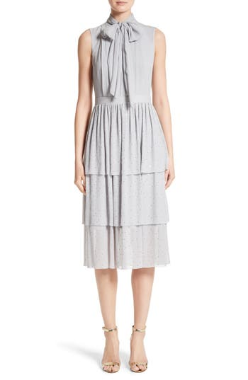 St. John Collection Crinkle Silk Georgette Tiered Dress