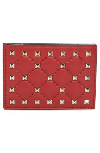 VALENTINO GARAVANI Rockstud Nappa Leather Card Case