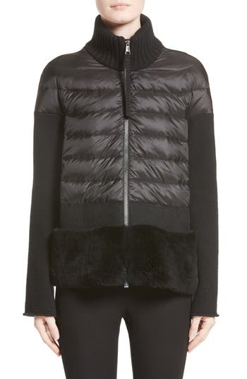 Moncler Genuine Shearling Trim Quilted Cardigan