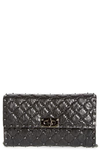 VALENTINO GARAVANI Matelassé Rockstud Spike Leather Wallet on a Chain