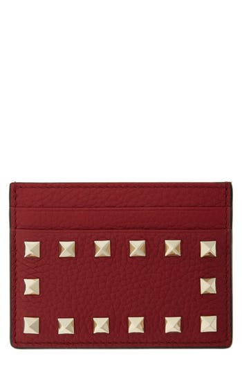 VALENTINO GARAVANI Rockstud Leather Card Holder