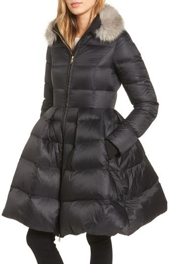 kate spade new york water-repellent skirted down coat with detachable faux fur collar