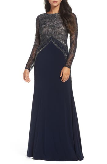 Adrianna Papell Beaded Long Sl..