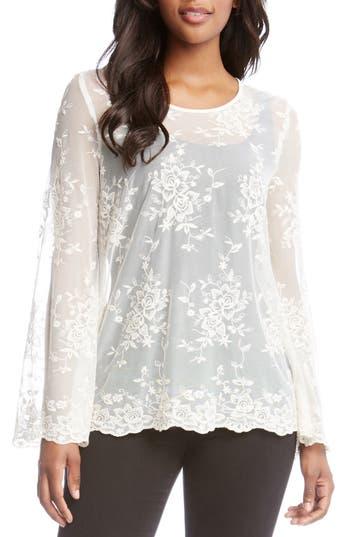Karen Kane Sheer Lace Bell Sleeve Top