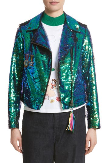 Mira Mikati Scout Patch Sequin Biker Jacket
