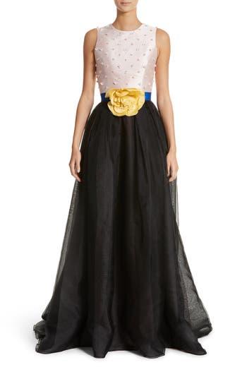 Carolina Herrera Colorblock Embellished Bodice Gown