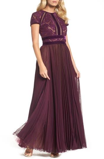 Tadashi Shoji Pleated Lace & Chiffon Gown