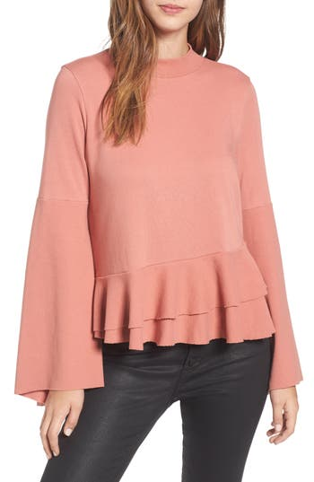 BP. Ruffle Hem Bell Sleeve Top