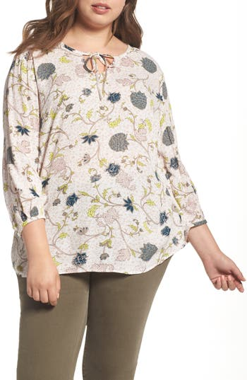 Caslon® Floral Print Tie-Neck Top (Plus Size)