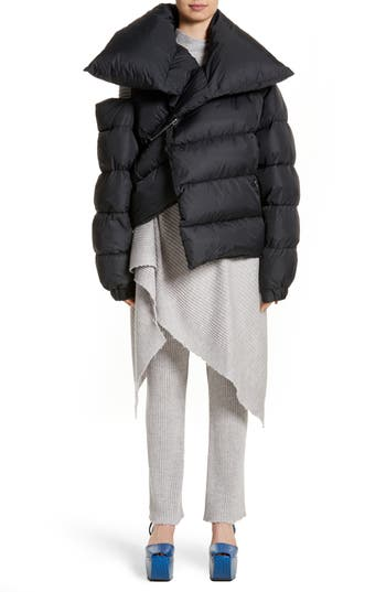 Marques'Almeida Asymmetrical Down Puffer Coat with Safety Pin Closure