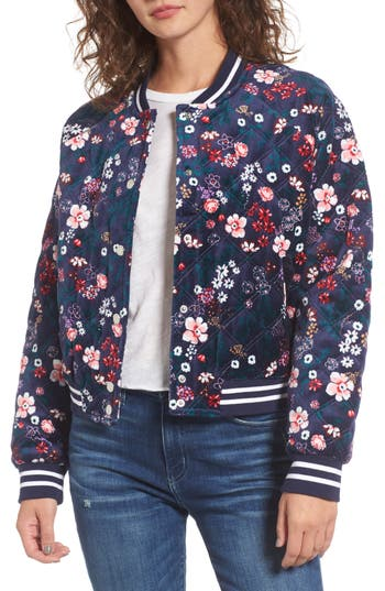 Juicy Couture Floral Quilted Velour Bomber Jacket