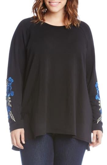 Karen Kane Appliqué Sleeve Sweatshirt (Plus Size)